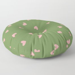 Pink Hearts on Green Background Floor Pillow