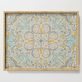 Gypsy Floral in Soft Neutrals, Grey & Yellow on Sage Serving Tray