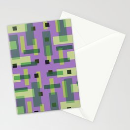 Purple, Green and Yellow Block City Stationery Cards