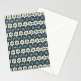 Blue Floral Japanese Pattern Stationery Cards