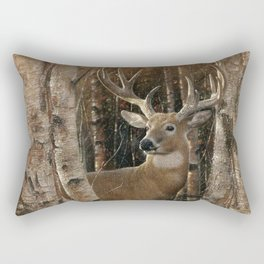 Deer - Birchwood Buck Rectangular Pillow