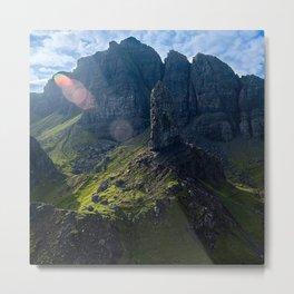 Sunlight Beams Illuminating Majestic Mountains And Epic Sky Metal Print