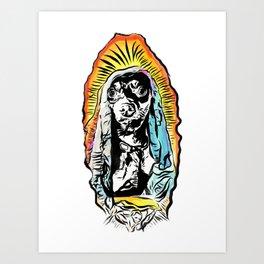 Santa Zanahoria - Dog Mother Mary Illustration Art Print