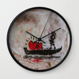 Two Hearts On A Boat Graffiti Wall Clock