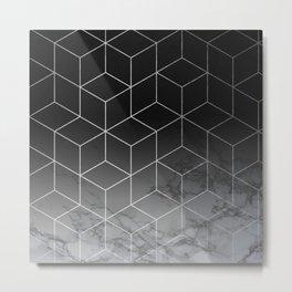 Silver Geometric Cubes Trendy White Grey Marble Metal Print