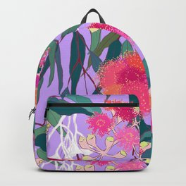 Australian Gumnut Eucalyptus Floral in Lilac Orchid Backpack