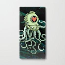 octopus diver in love Metal Print