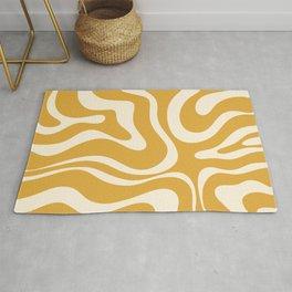 Modern Liquid Swirl Abstract Pattern in Mustard Gold Rug