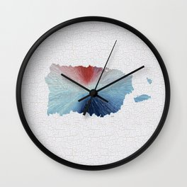 Colorful Art Puerto Rico Map Blue, Red and White Wall Clock