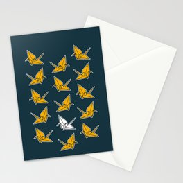 PAPER CRANES NAVY AND YELLOW Stationery Cards