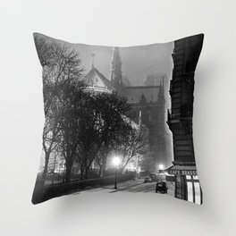 Notre Dame Cathedral, Winter Paris with snowfall black and white photograph / black and white photography Throw Pillow