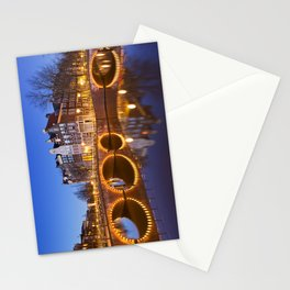 Bridges over canals in Amsterdam at night Stationery Cards