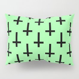Black and Green Inverted Cross Pattern Pillow Sham