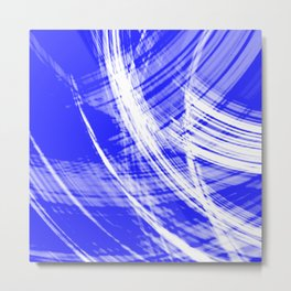 Delicate fibers of light blue threads with the energy of abstraction. Metal Print