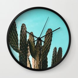 Cactus Photography Print {1 of 3} | Teal Succulent Plant Nature Western Desert Plants  Design Decor Wall Clock