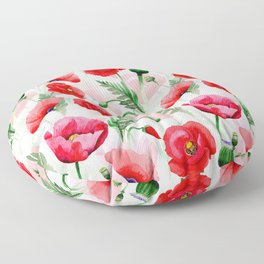 Botanical Red Summer Flowers Garden Meadow Floor Pillow