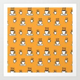 Coffe mug pattern in mustard yellow Art Print