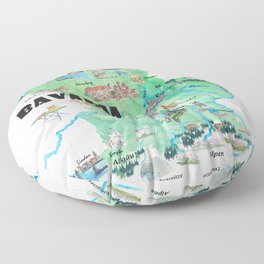 Bavaria Germany Illustrated Travel Poster Map Floor Pillow
