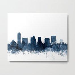 Memphis Skyline Watercolor Navy Blue by Zouzounio Art Metal Print