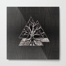 Valknut Symbol and Tree of life  -Yggdrasil Metal Print