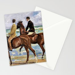Max Liebermann - Horseman on the beach to the left - Digital Remastered Edition Stationery Cards