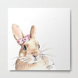Bunny with a Pink Hair Bow. Watercolor Painting Metal Print