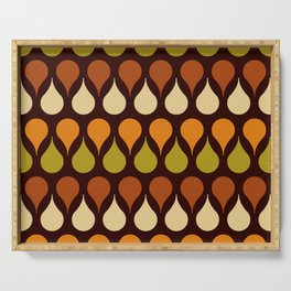 60s, 70s, Vintage geometric patterns, Brown drops, yellow drops Serving Tray