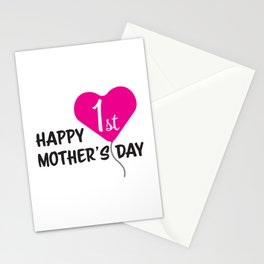 Happy First Mother's day Pink Balloon Stationery Cards