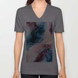 Pastel Plum, Deep Blue, Blush and Gold Abstract Painting Unisex V-Ausschnitt