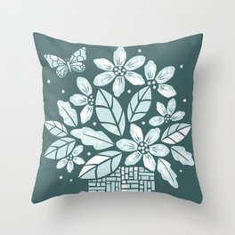 Blooming Basket Throw Pillow