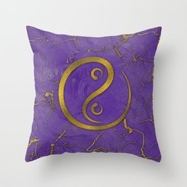 Golden Embossed Yin yangsymbol  on purple Throw Pillow