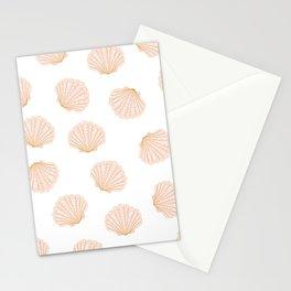 Scallop shell blush pink pattern  Stationery Cards