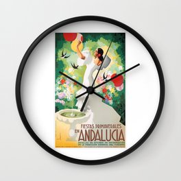 1941 SPAIN Andalucia Springtime Festivals Poster Wall Clock