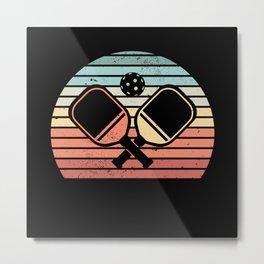 Retro Pickleball Paddle Sunset Gift Metal Print