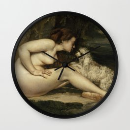 Gustave Courbet - Nude Woman with a Dog Wall Clock