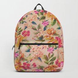 Golden Flitch (Digital Vintage Retro / Glitched Pastel Flowers - Floral design pattern) Backpack