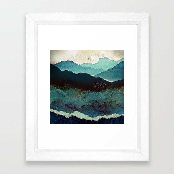 Indigo Mountains Gerahmter Kunstdruck