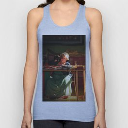Old time quilt maker in window light Unisex Tank Top
