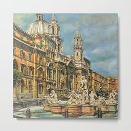 Piazza Navona fountain through oil without restoration Metal Print