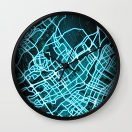 Laval, QC, Canada, Blue, White, Neon, Glow, City, Map Wall Clock
