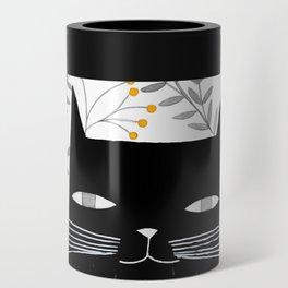 black cat with botanical illustration Can Cooler
