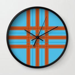 Aqua Fire Plaid Wall Clock
