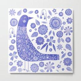 Nordic Bird Blue Metal Print