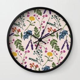 Botanical Pattern Light Peach Wall Clock