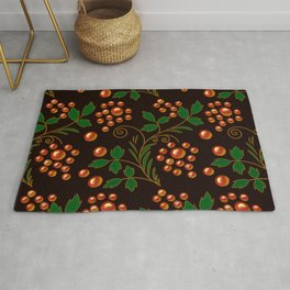 Berries and leaves on a dark background Rug