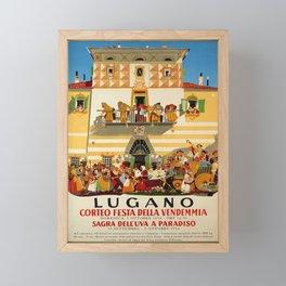 retro plakat corteo festa della vendemmia lugano Framed Mini Art Print