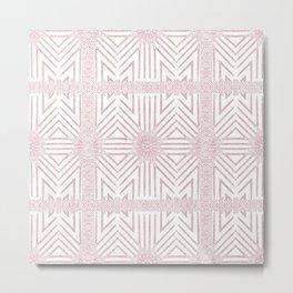 Nappy Faux Velvet Framed Wicker Repeat in Pink Reversed Metal Print