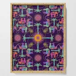 The Magic Of The Elephants Colorful Indie Art Serving Tray