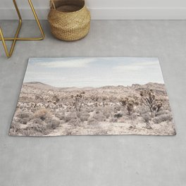 Cactus Landscape // Photograph of Desert Plains Cloudy Sky Tan and Yellow Rug