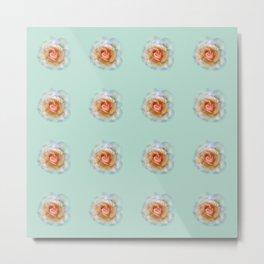 bed of roses: eau de nil wallpaper Metal Print